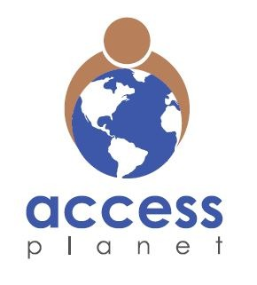 Logo of Access Planet- Showing a person embracing the planet.
