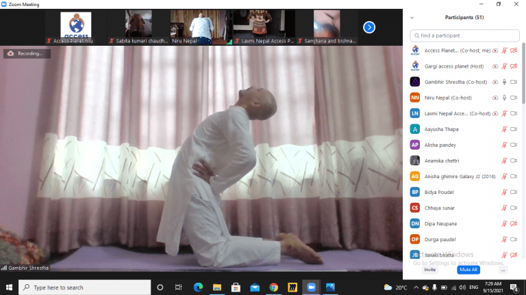 Yoga instructor Mr. Gambhir Shrestha teaching yoga possess to the participants..